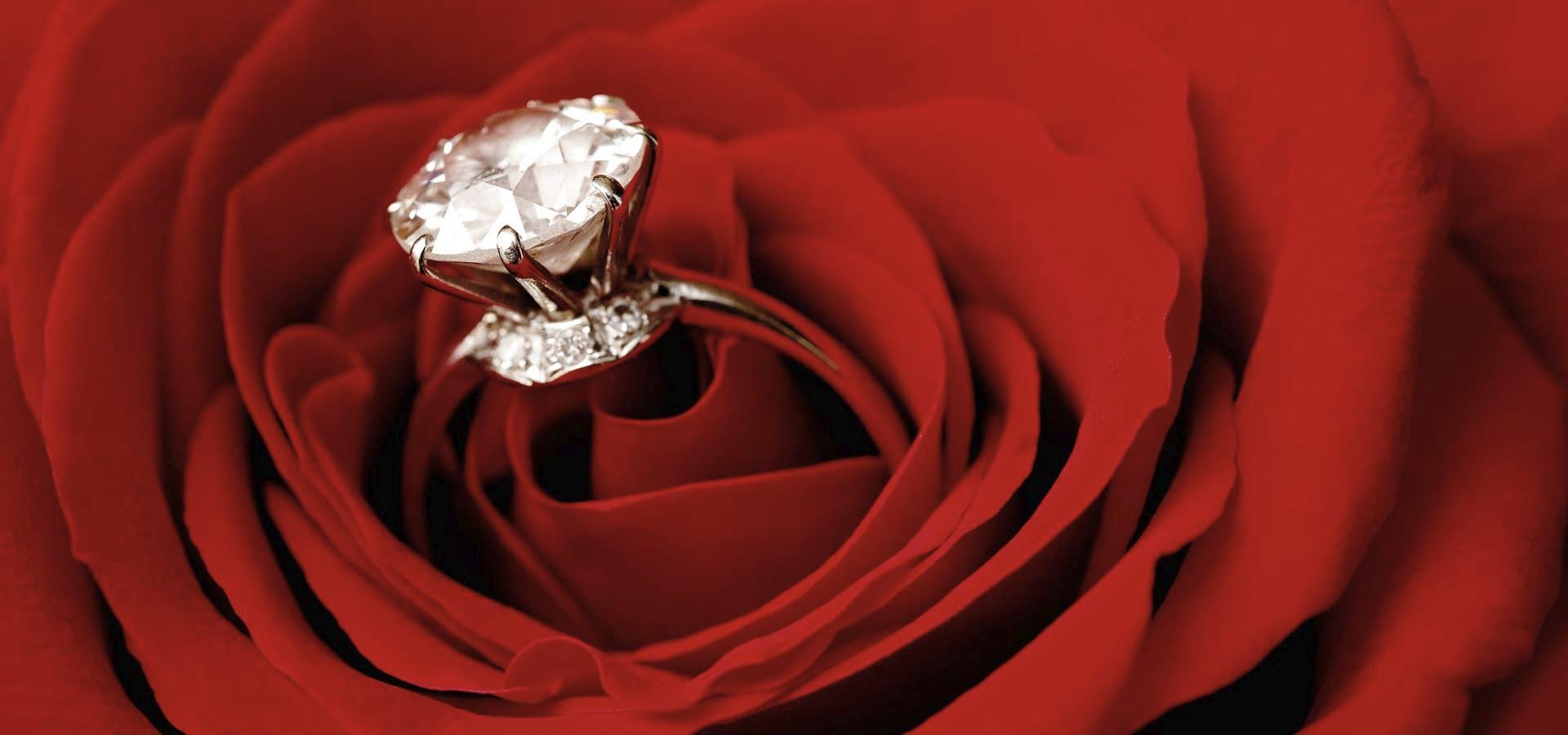 una foto artistica di un bellissimo anello di fidanzamento