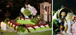 fotografia della torta di nozze a lume di candela