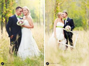 una meravigliosa fotografia degli sposi in un campo verde