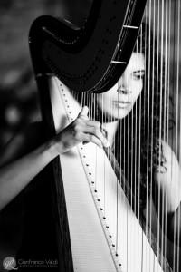 arpista che suona per il ricevimento del matrimonio