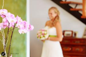 primo piano di una pianta di orchidee con sposa sullo sfondo