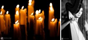 a lume di candela arpa e violino hanno accompagnato il matrimonio