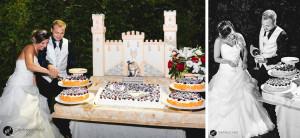 allestimento per la torta prima dei festeggiamenti