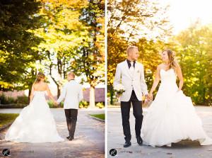 fronte e spalle degli sposi mano nella mano